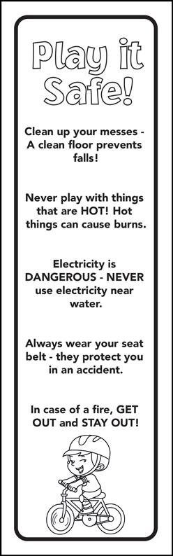 """""""Play it Safe: Be A Super Safe Kid"""" Color Me Bookmark (back)"""