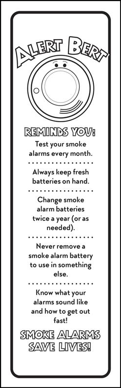 """Alert Bert's """"The Smoke Alarm"""" Color Me Bookmark (back)"""