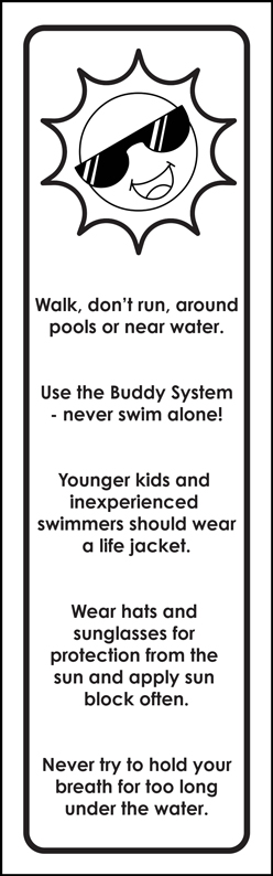 """""""Water Safety: Fun In The Sun For Everyone!"""" Color Me Bookmark (back)"""