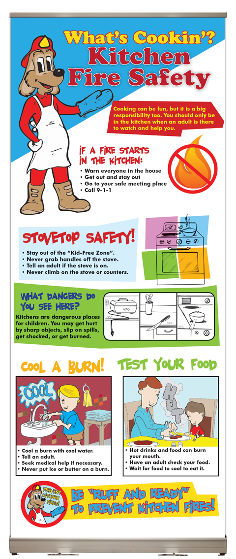"""Yes — Red's """"What's Cookin'? Kitchen Fire Safety"""" Presentation Display"""