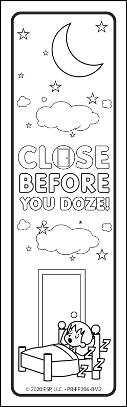 """Close Before You Doze"" Color Me Bookmark"