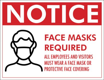 COVID-19: Face Mask Required Plastic Sign