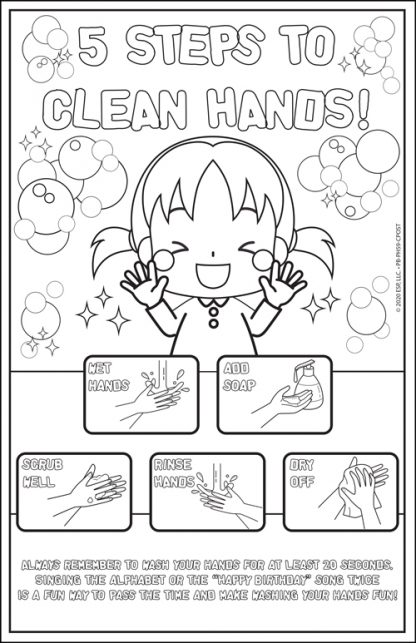 """5 Steps to Clean Hands!"" Color Me Poster"