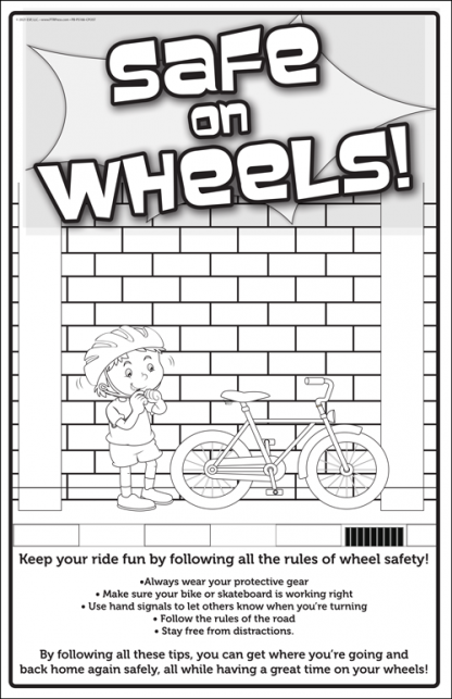 wheel safety coloring poster